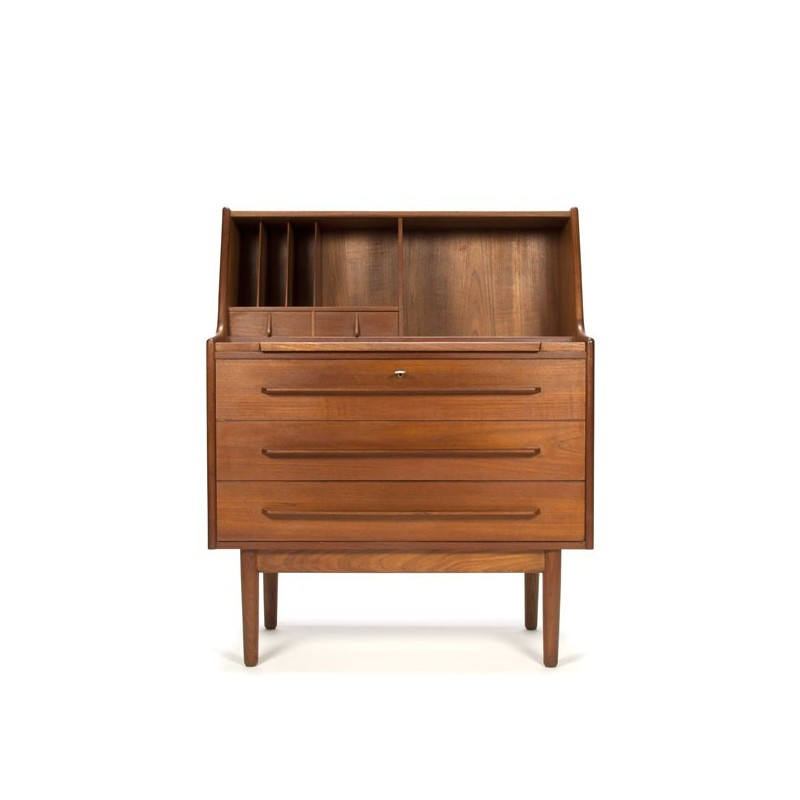 deense design secretaire bureau in teakhout. Black Bedroom Furniture Sets. Home Design Ideas
