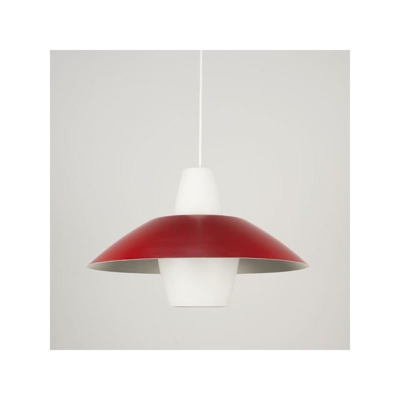 Glass pendant with red metal shade