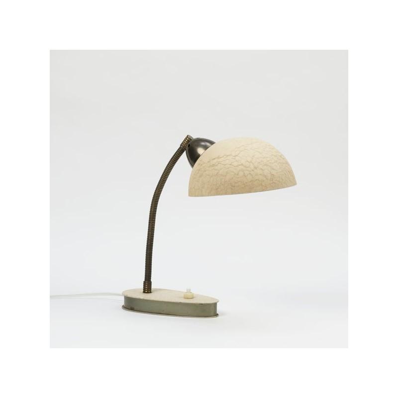Tafel-/bureaulamp creme en koper kleurig