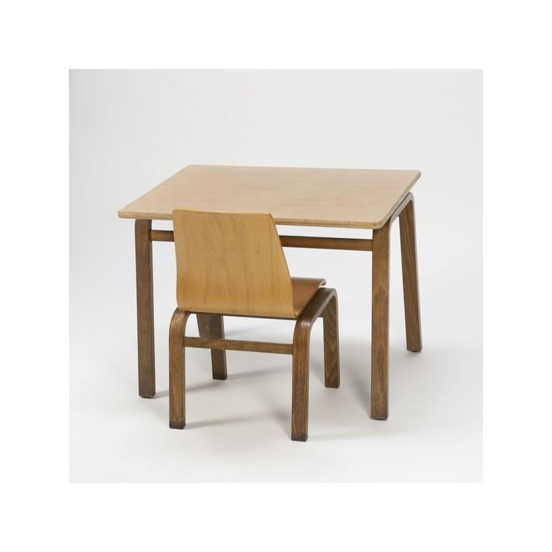 Plywood kinderset tafel en stoeltje