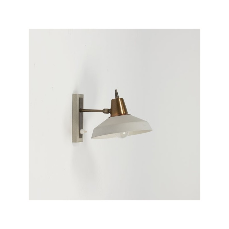 Wandlamp grijs/koper