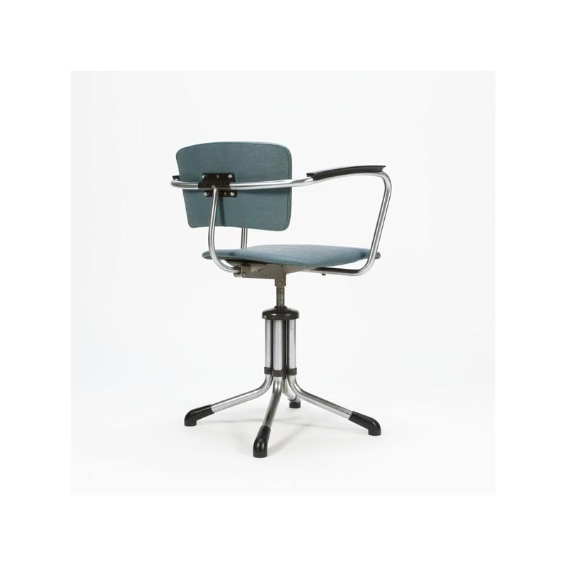 Originele Gispen Bureaustoel.Gispen Bureaustoel Blauw Retro Studio
