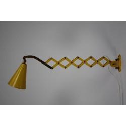 Geel/ kopere wandlamp 1950's