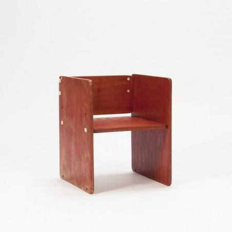 Red wooden block childrens chair