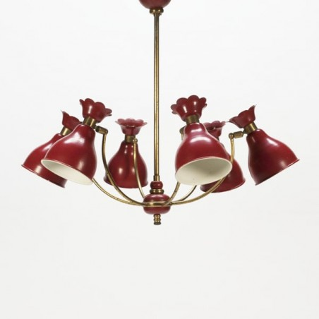 Hanging lamp red/brass 1950's