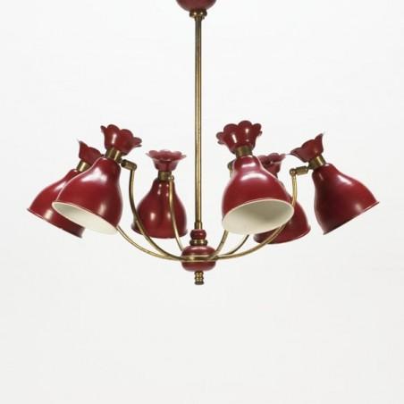 Hanglamp rood/koper 1950's