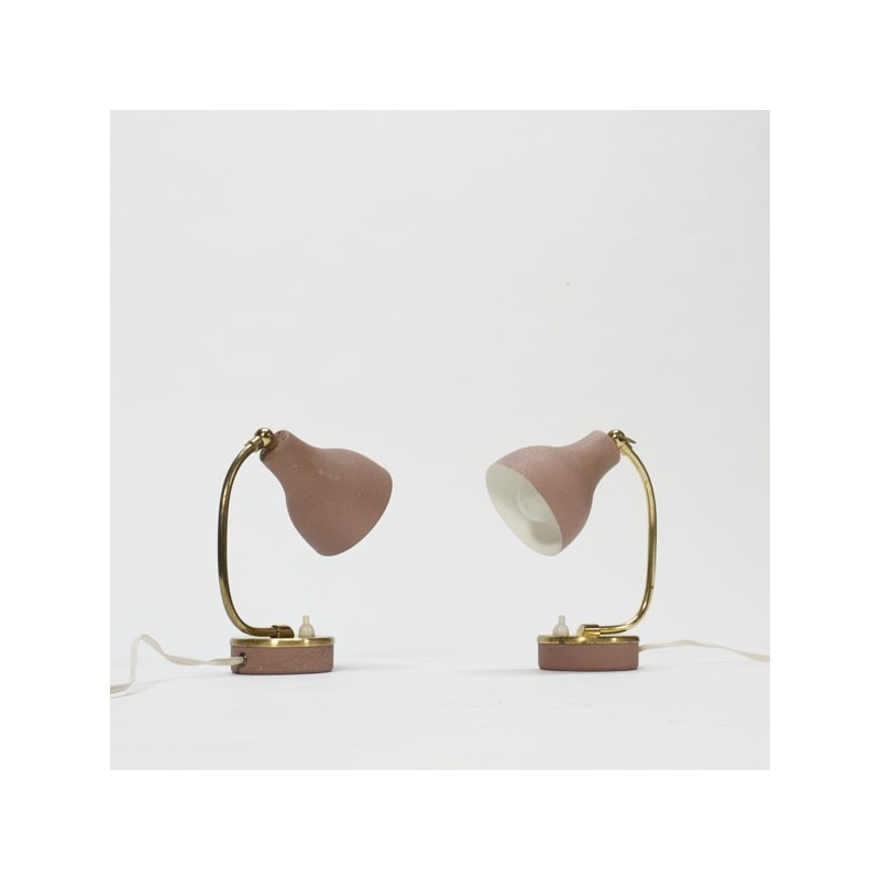 Set of 2 pink/brass lamps