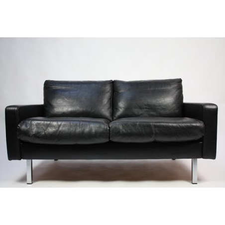 Black leather design sofa 1960's
