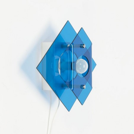 Plexiglass wall lamp 1970 blue