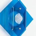 Plexiglazen wandlamp jaren 70 blauw