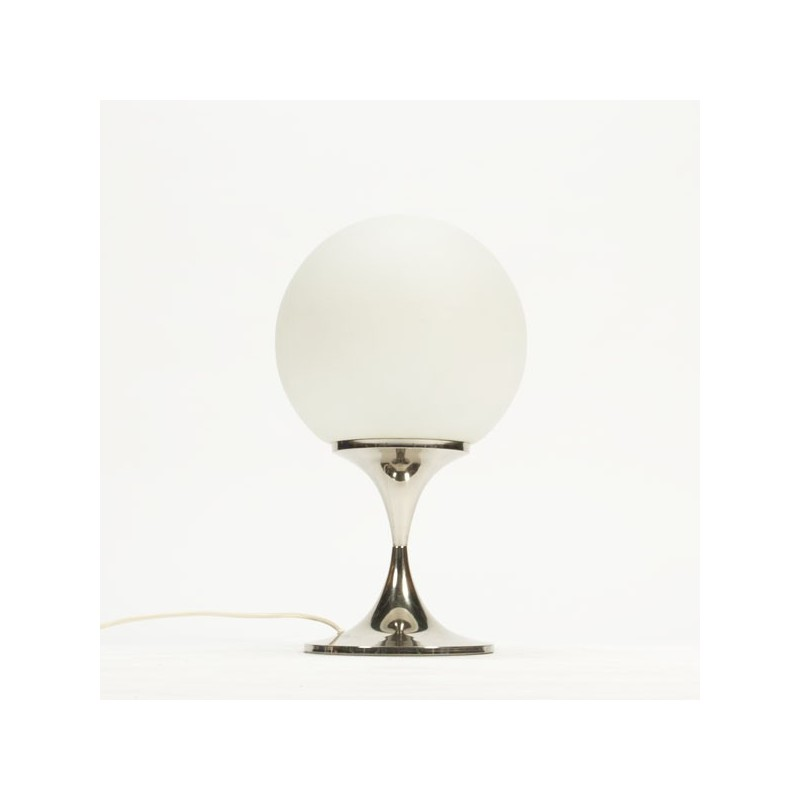 Large table lamp with white glass ball