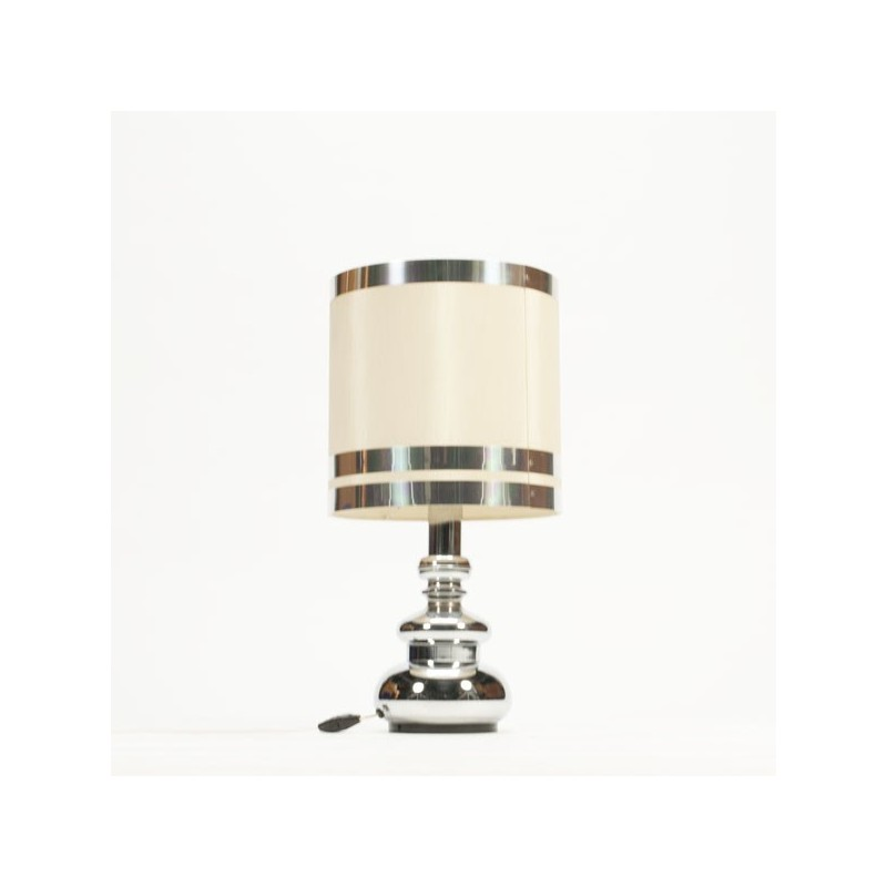 Table lamp with chrome glass base