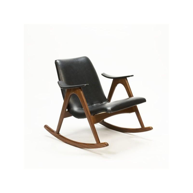 Vintage schommelstoel teakhout
