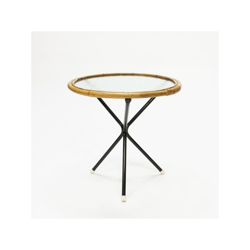 Small round bamboo table