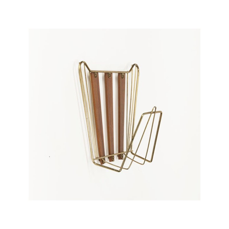 Wall rack brass/ wood