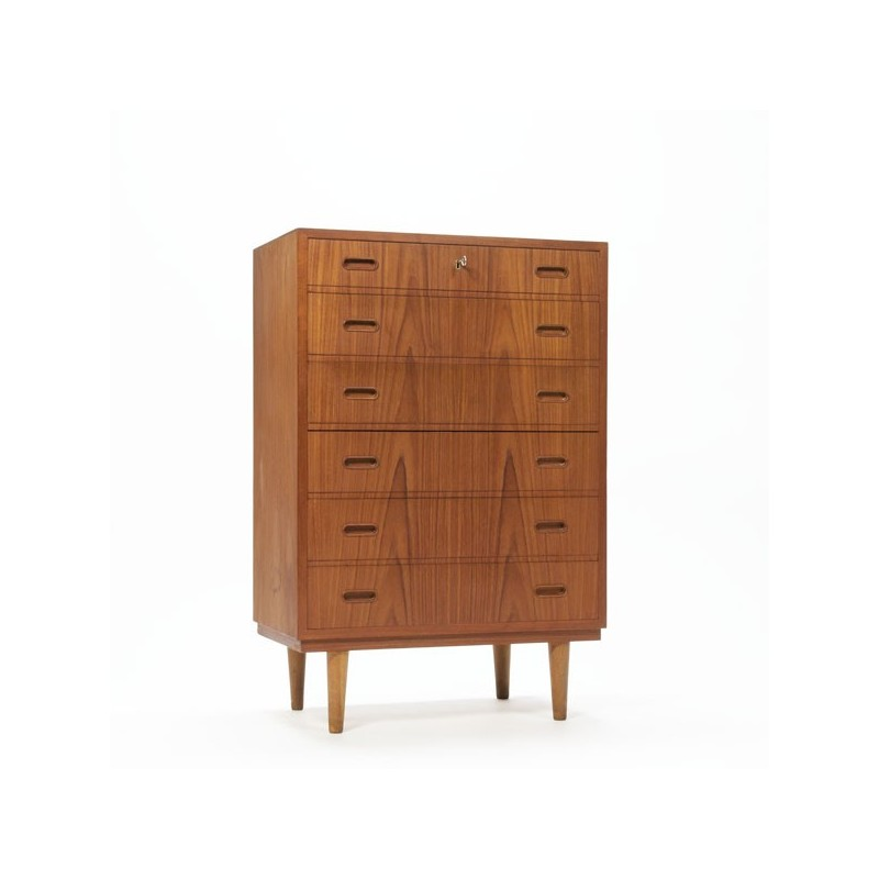 Chest of drawers in teak with mirror