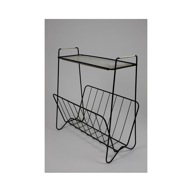 Metal magazine rack black/white