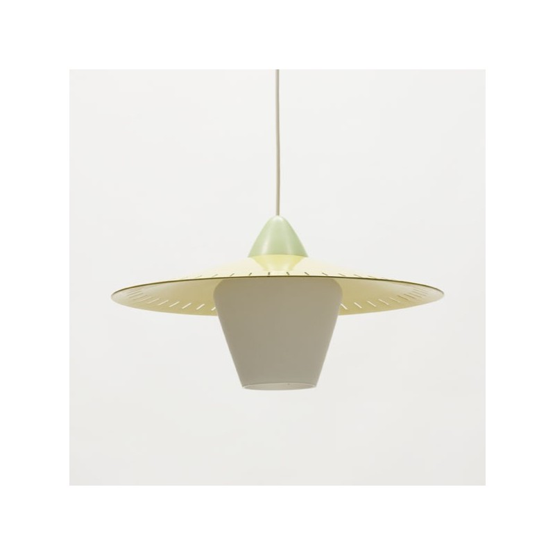 Glass hanging lamp with metal yellow cap
