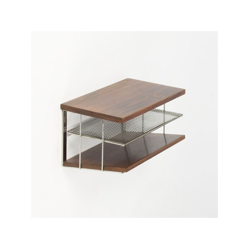 Rosewood/chrome wall rack