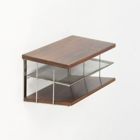 Rosewood/chrome wall rack