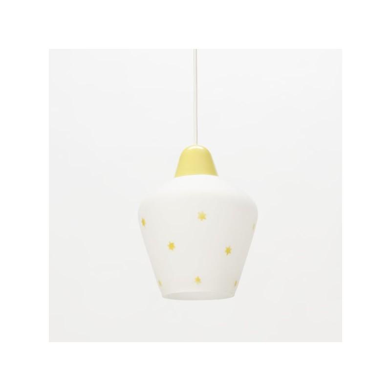 Glazen hanglamp met gele sterretjes