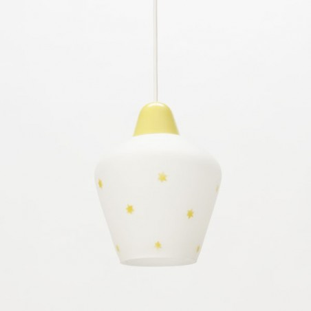 Glass hanging lamp with yellow stars