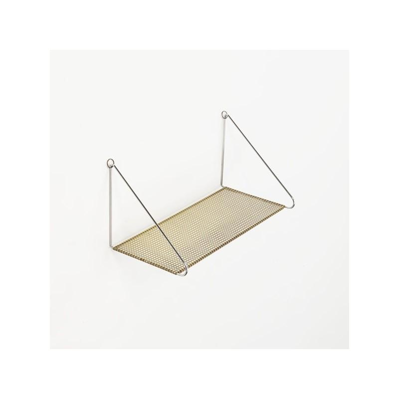 Boekenplank van geperforeerd metaal geel