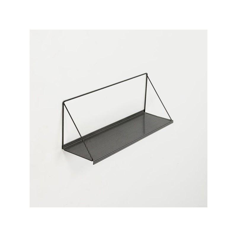 Boekenplank van geperforeerd metaal zwart