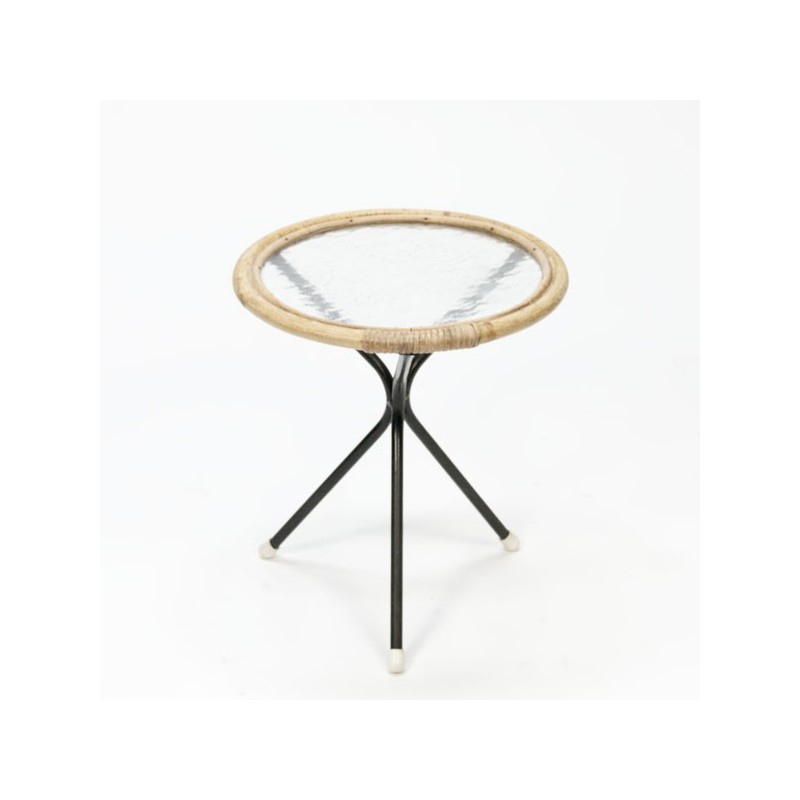 Small round bamboo table vintage
