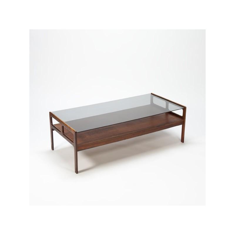 Palissanderhouten salontafel met glazen blad