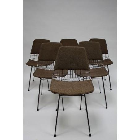 Draadstoelen 50's set van 6