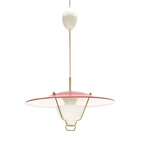 Red hanging lamp 1950's