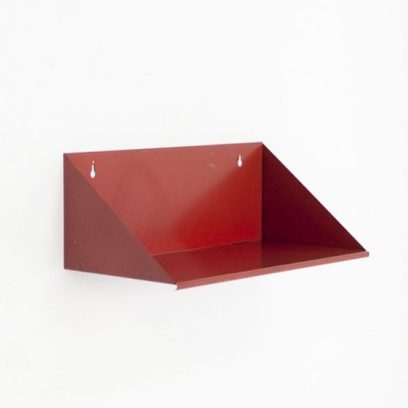 Red metal bookshelf