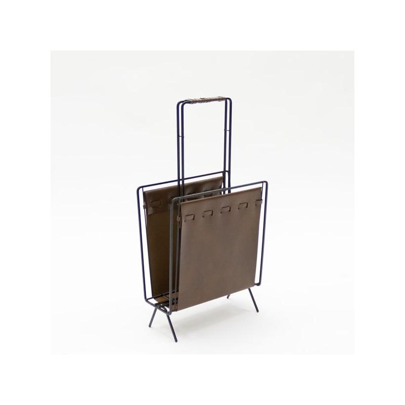 Magazine rack with brown skai