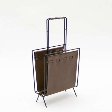 Magazine rack with brown skai
