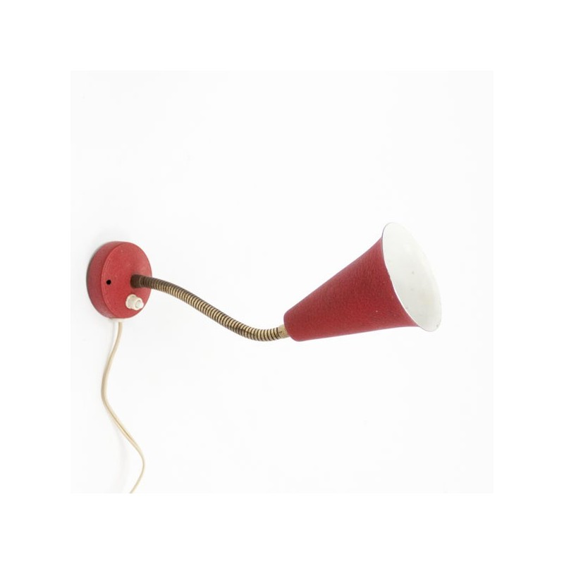 Wall lamp red/ brass 1950's