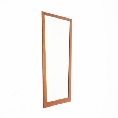 Grote Deense spiegel met lichte teakhouten rand