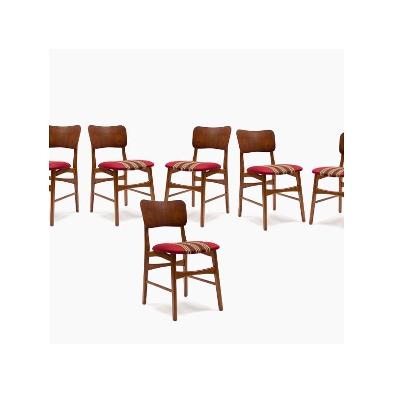 Set van 6 Deense teakhouten stoelen