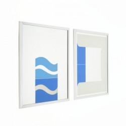 Set of 2 artworks on mirror