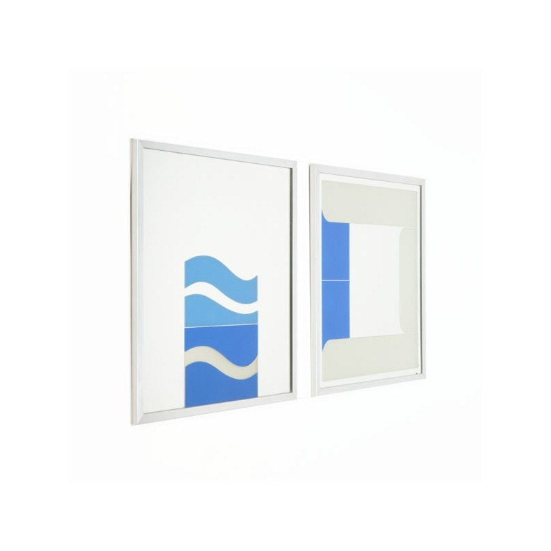 Set of 2 artworks on mirror