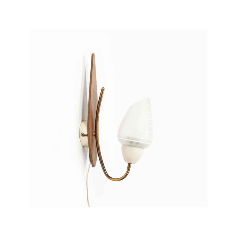 Wall lamp with teak and glass cap