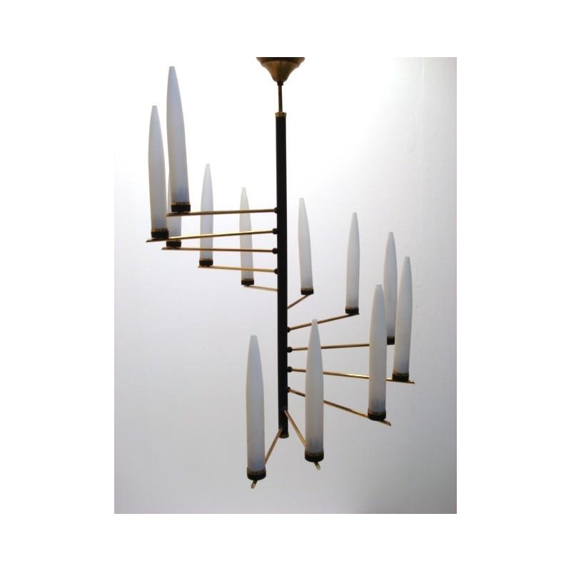 Grote scandinavische hanglamp met glas