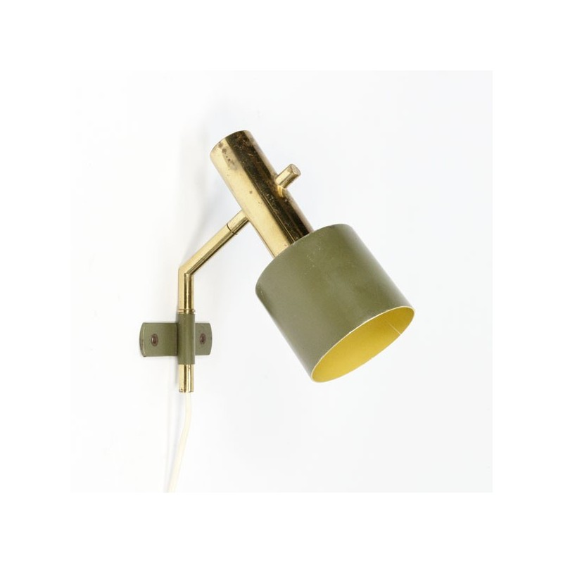 Wall lamp 1950's brass/ green