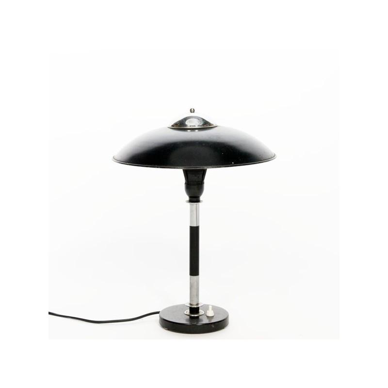 Zwart/ chromen tafellamp