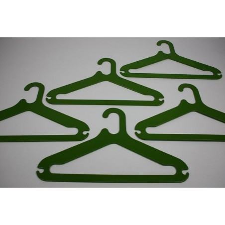 Plastic clothes hooks green set of 5
