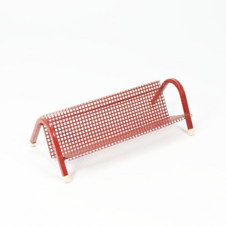Small red perforated metal rack