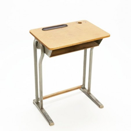 Industrial desk with plywood detail