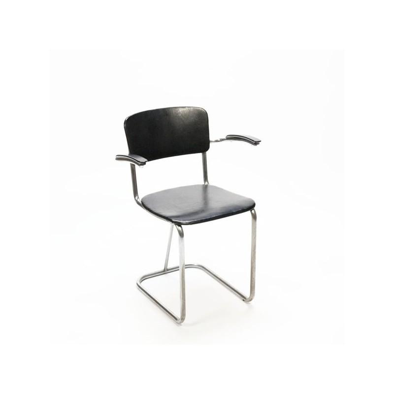 Buisframe stoel met zwart skai