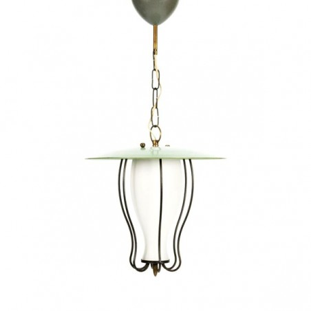 Hanging lamp 1950's with green detail