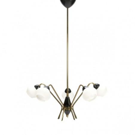 Hanglamp 1950's met glazen kapjes